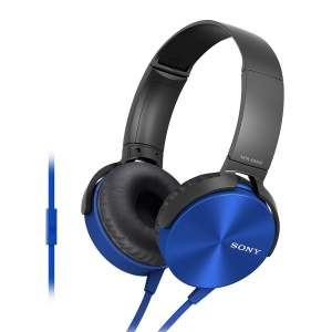 Sony Extra Bass MDR-XB450AP On-Ear Headphones with Mic (Blue)-0