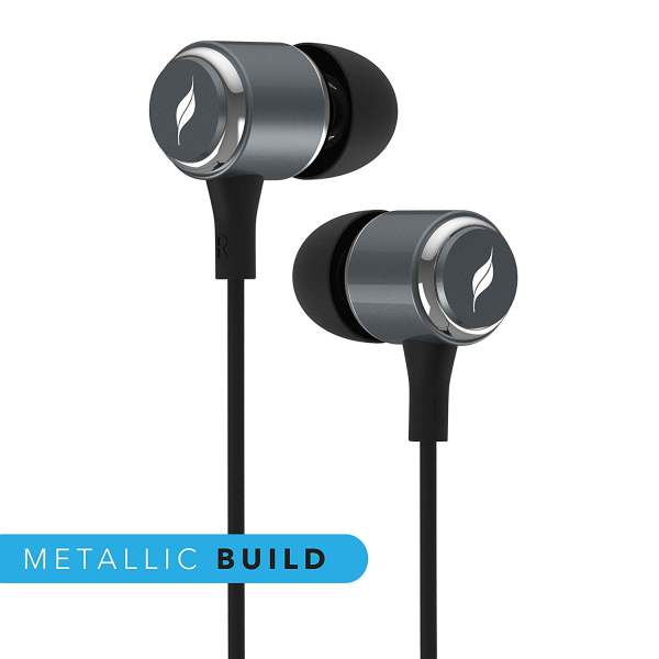 Leaf Metal Wired Earphones with Mic and Inline Remote (Gunmetal)-7109