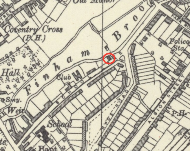 Map of School Lane showing Noah's Ark (ringed)