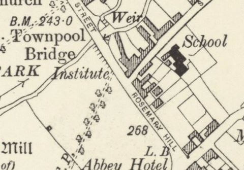 Map of School Lane and Rosemary Hill, 1906