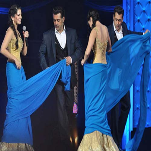 जब Sexy Sunny को Salman ने पहनाई Saree Salman teaches Sunny Leone how to drape a saree