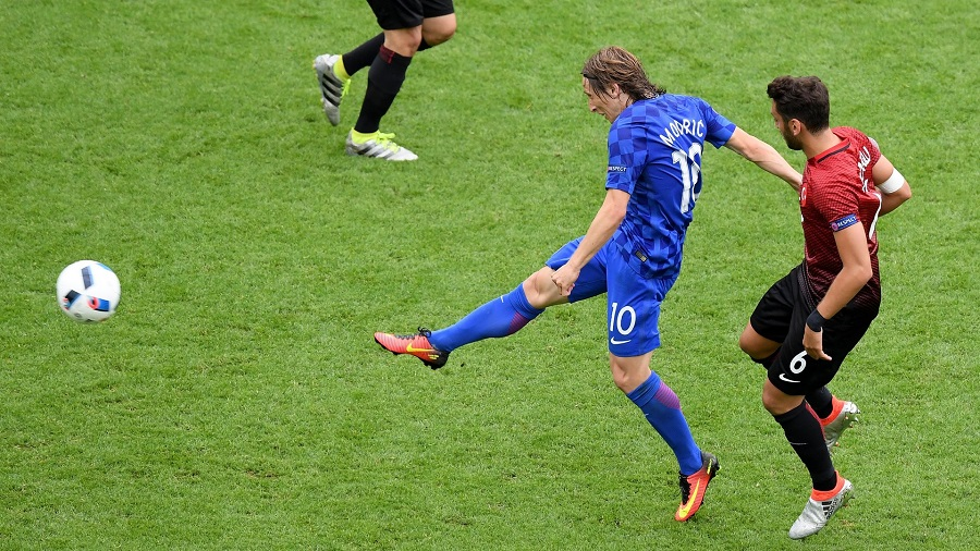 PARIS, FRANCE - JUNE 12: Luka Modric of Croatia scores his team's first goal during the UEFA EURO 2016 Group D match between Turkey and Croatia at Parc des Princes on June 12, 2016 in Paris, France.  (Photo by Matthias Hangst/Getty Images)