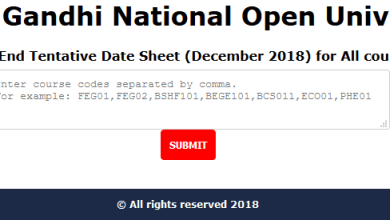 IGNOU Date Sheet December 2018 Exams For All Programs and Courses