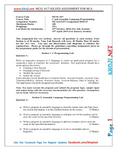 MCSL-017 Solved Assignment 2018-19 IGNOU MCA 1st Semester