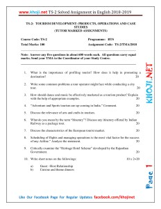 TS-2 Solved Assignment 2018-19 (Tourism Development) For IGNOU BTS