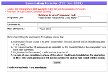 IGNOU Exam Form Submission Started For June 2019 Term End