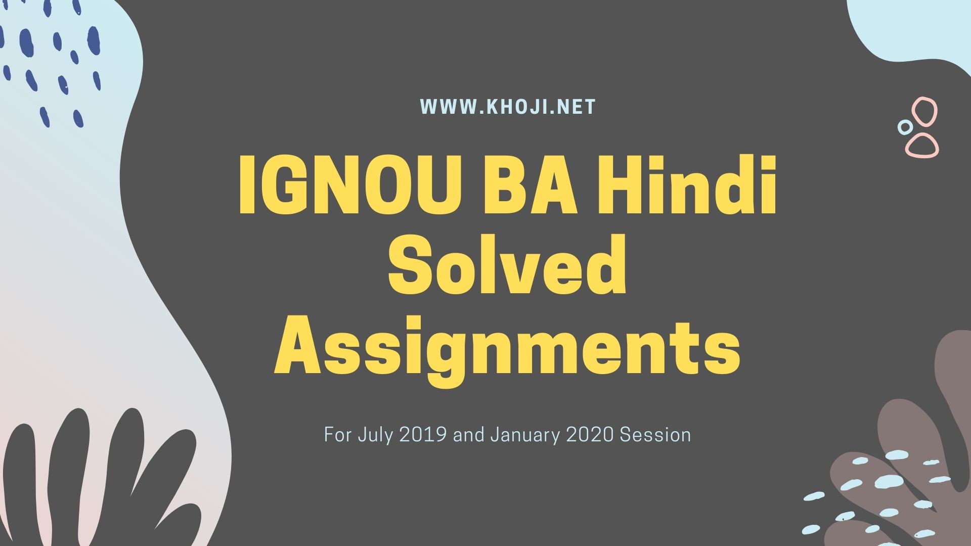 IGNOU BA Hindi Solved Assignments 2019-2020