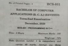 BCS-031 Question Paper For December 2020 Term End Exam IGNOU BCA