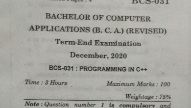 BCS-031 Question Paper For December 2020 Term End Exam IGNOU BCA