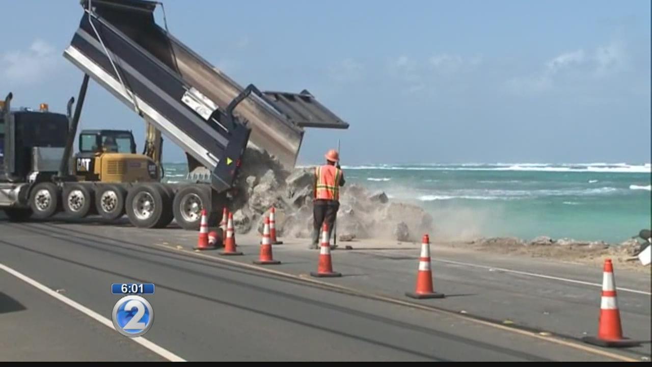 Crews use boulders in temporary fix along crumbling Kamehameha Hwy.