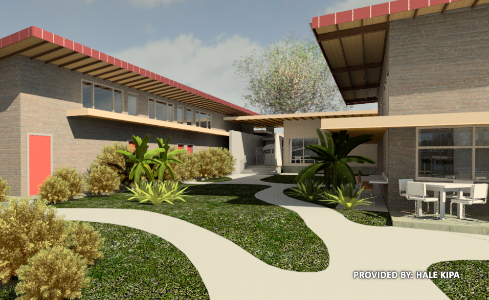 Hale Kipa West Oahu campus rendering Service Center Courtyard View