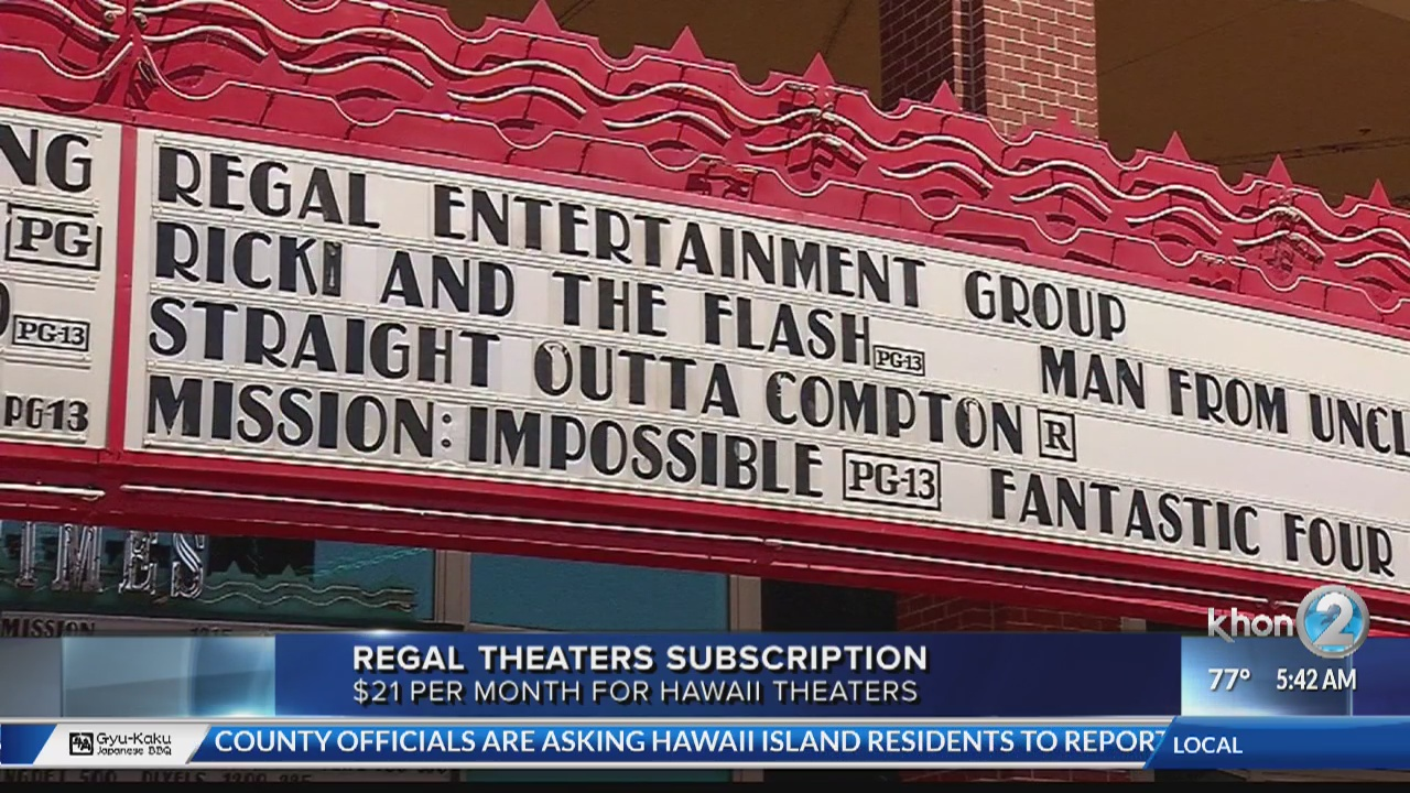 Regal Cinemas new subscription for Hawaii Theaters | KHON2