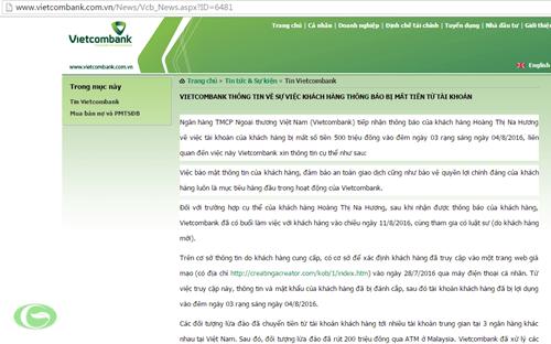 Vietcombank giải thích rằng, nguyên nhân của việc mất tiền trong tài khoản xảy ra bởi chị Hương bị đánh cắp thông tin tài khoản do trước đó truy cập vào đường link giả mạo