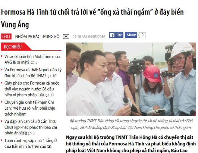 """Formosa Hà Tĩnh từ chối trả lời về """"ống xả thải ngầm"""" ở đáy biển Vũng Áng"""