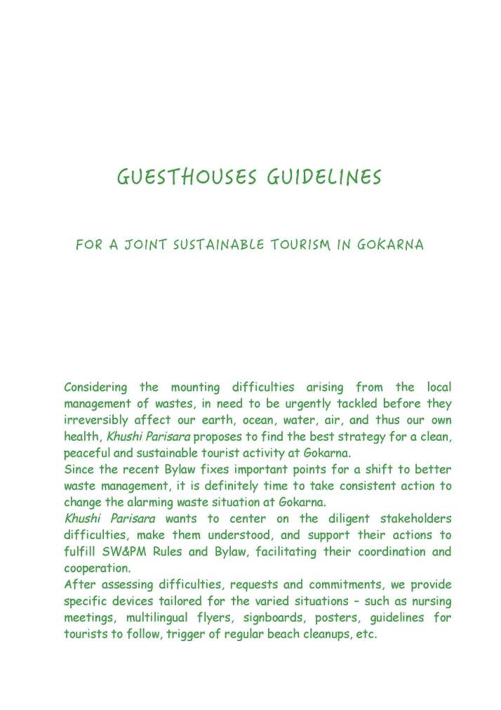 GUESTHOUSES GUIDELINES
