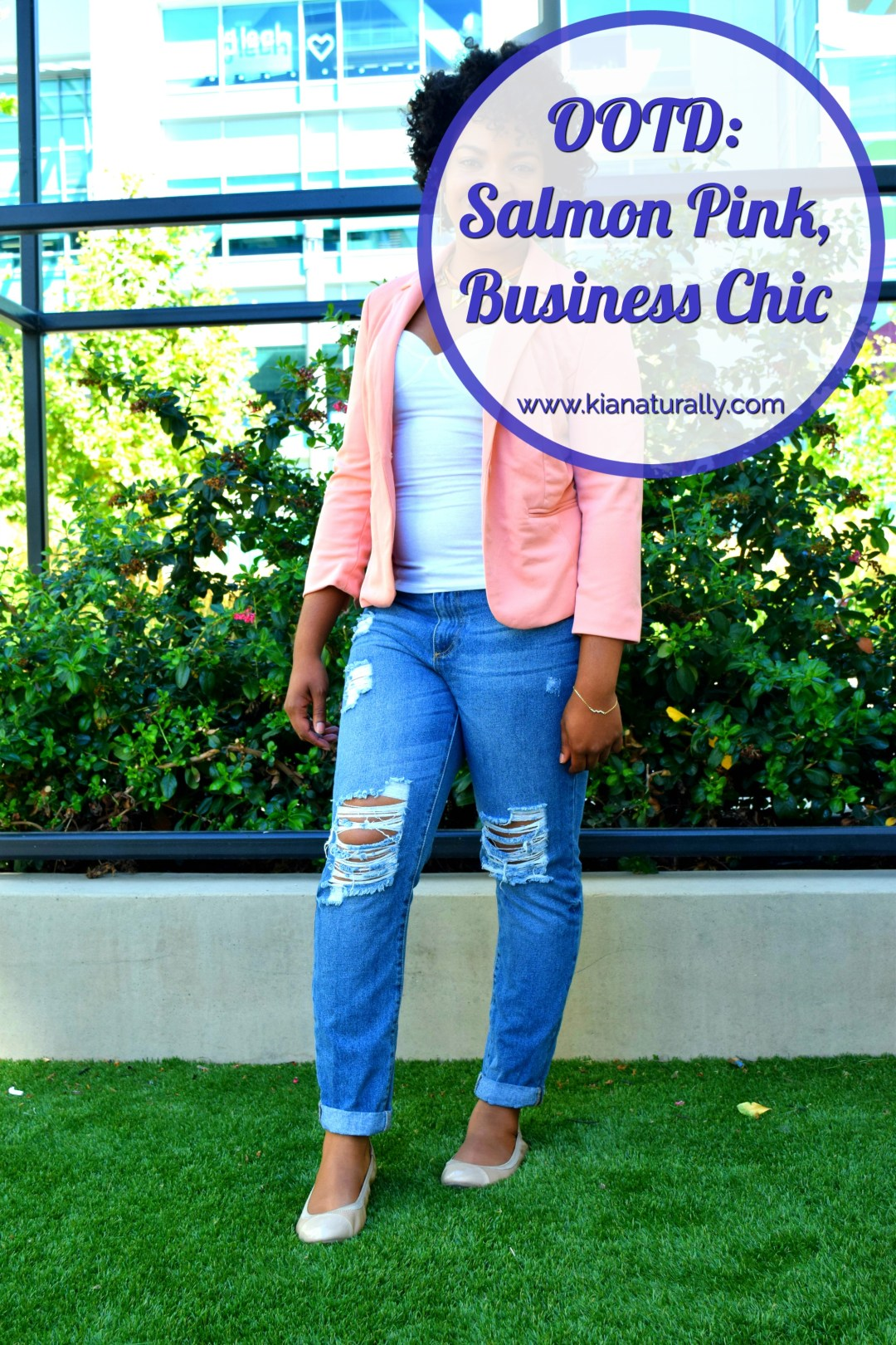 OOTD: Salmon Pink, Business Chic - www.kianaturally.com