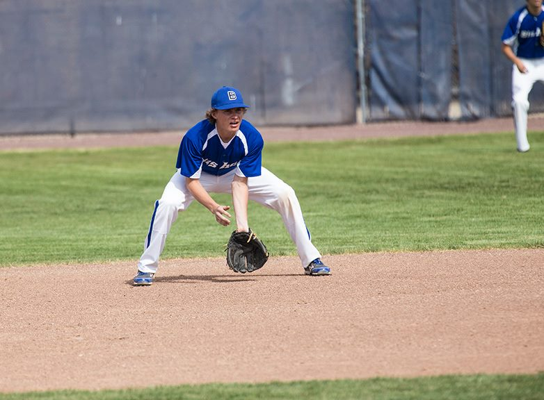 Bishop Broncos Varsity Baseball Infielder Jeremy Fie on April 8, 2014 vs. Cal City at Bishop.