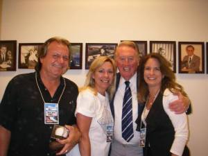 KIBS/KBOV Owners Steve and Lauren with Legendary LA Dodger Announcer Vin Scully!