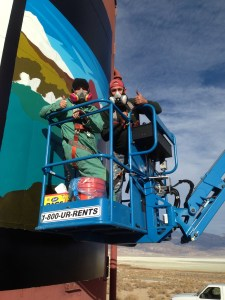 Lone Pine AltaOne FCU Branch Manager, Marian-- and her sons, helped paint the Gateway to the Eastern Sierra Water Tower