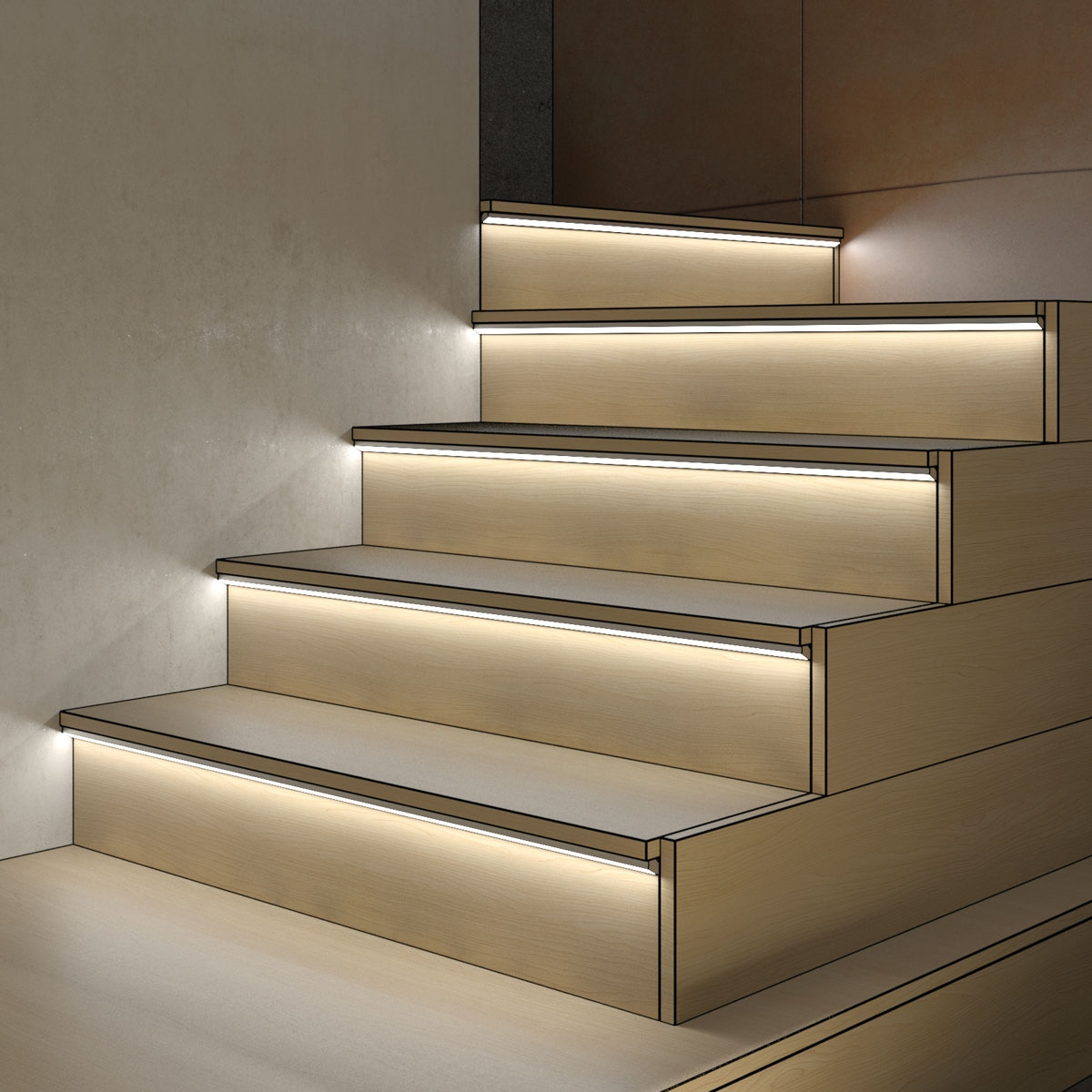 Using Tape And Channels Kichler Lighting | Reflective Tape For Outdoor Steps | Hazard Warning Tape | Yellow | Self Adhesive | Retro Reflective | Concrete Steps