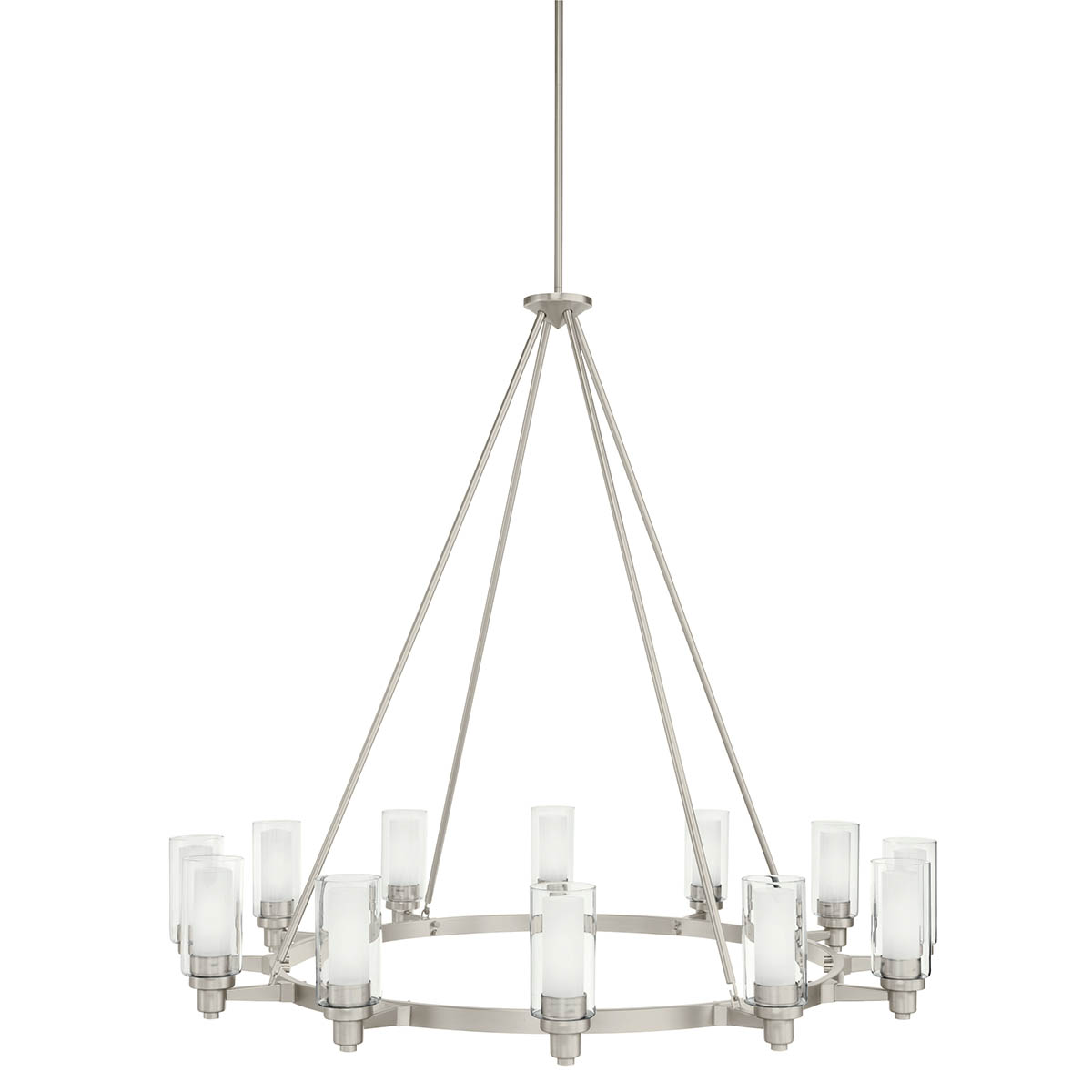 circolo 41 12 light round chandelier clear outer and satin etched inner cylinders brushed nickel