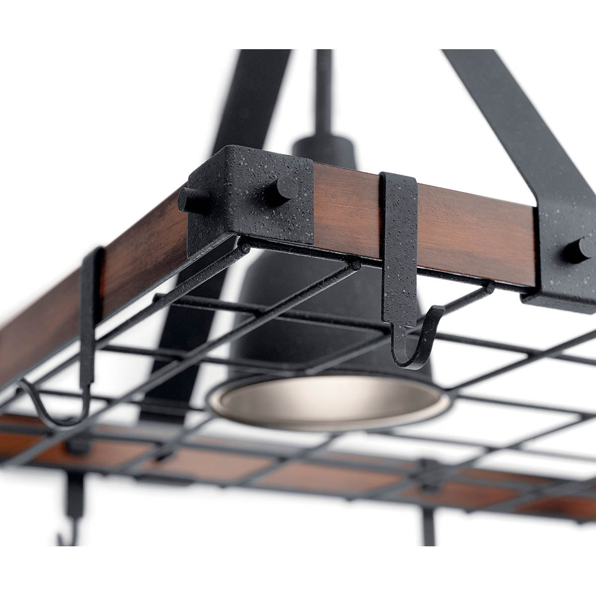 barrington 34 x 20 lighted pot rack distressed black