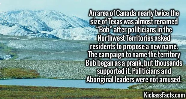 "2249 Northwest Territories Bob-An area of Canada nearly twice the size of Texas was almost renamed ""Bob"" after politicians in the Northwest Territories asked residents to propose a new name. The campaign to name the territory Bob began as a prank, but thousands supported it. Politicians and Aboriginal leaders were not amused."