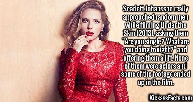 2552 Scarlett Johansson-Scarlett Johansson really approached random men while filming Under the Skin (2013), asking them