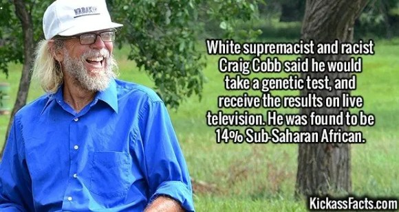 2388 Craig Cobb-White supremacist and racist Craig Cobb said he would take a genetic test, and receive the results on live television. He was found to be 14% Sub- Saharan African.