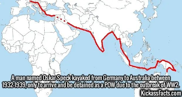 2414 Oskar Speck-A man named Oskar Speck kayaked from Germany to Australia between 1932-1939, only to arrive and be detained as a POW due to the outbreak of WW2.