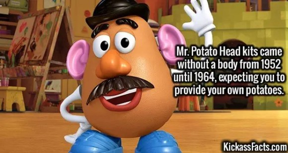2683 Mr. Potato Head-Mr. Potato Head kits came without a body from 1952 until 1964, expecting you to provide your own potatoes.