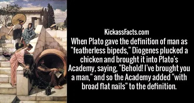 """When Plato gave the definition of man as """"featherless bipeds,"""" Diogenes plucked a chicken and brought it into Plato's Academy, saying, """"Behold! I've brought you a man,"""" and so the Academy added """"with broad flat nails"""" to the definition."""