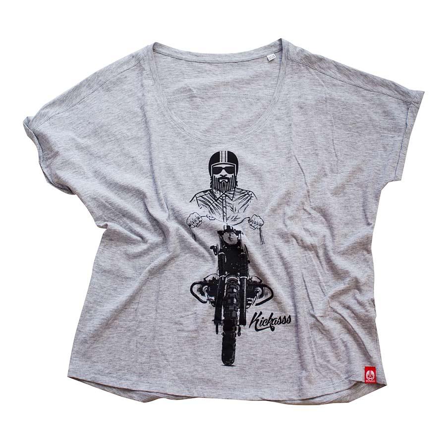 T-shirt moto Kickasss Driver 19 pour femme (heather grey)