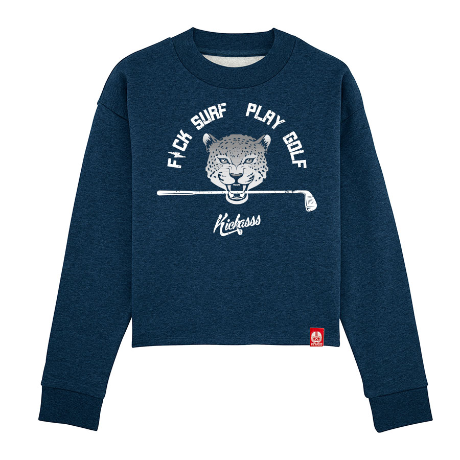 Sweat-shirt crop ample à col haut Fuck Surf Play Golf (black heather bluey)