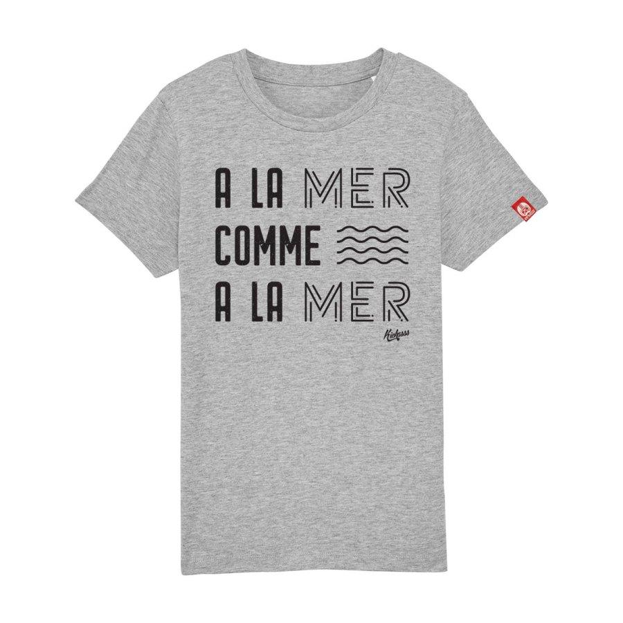 t-shirt enfant kickasss a la mer comme a la mer heather grey