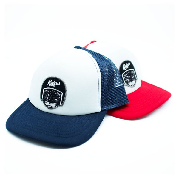 Casquette trucker pour enfant Kickasss Cool Cat (navy / red)