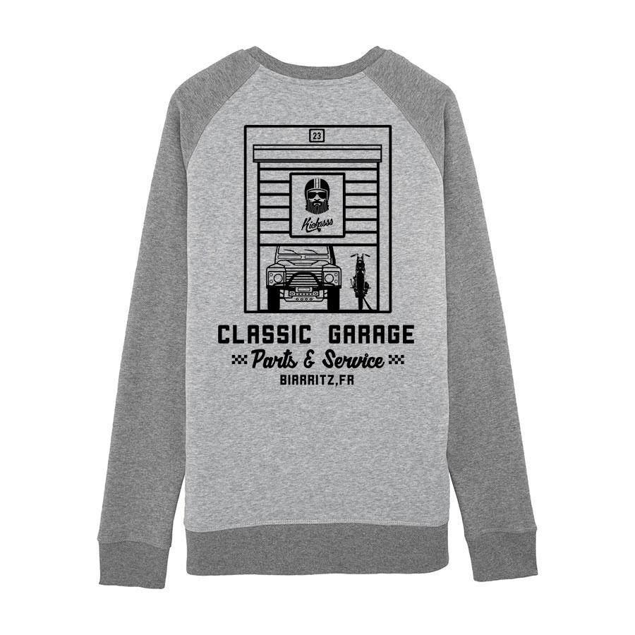 Sweatshirt unisexe numéroté Kickasss Classic Garage 19 (heather grey / mid heather grey)