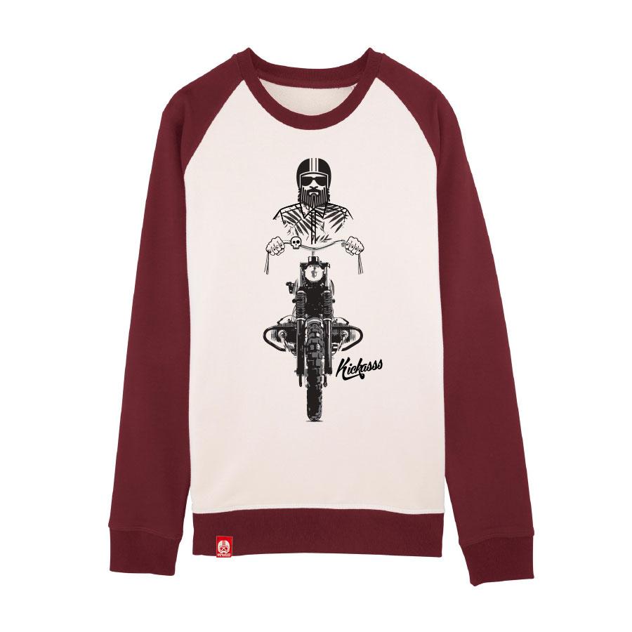Sweatshirt numéroté Kickasss Driver 19 (vintage white / burgundy)