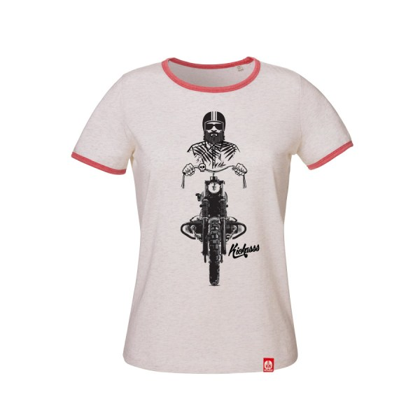 T-shirt moto Kickasss Driver 19 pour femme (cream / heather cranberry)