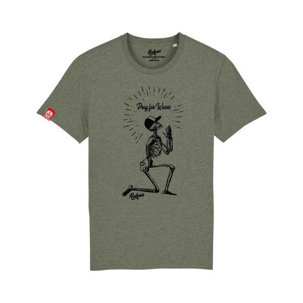 T-shirt surf Kickasss Pray for Waves (heather kaki)