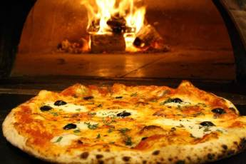 pizza from the oven