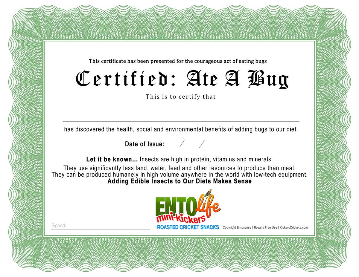 I Ate A Bug Certificate
