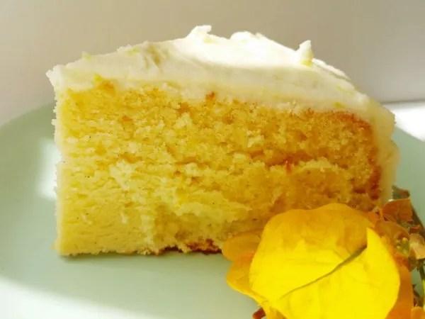 Lemon Chiffon Cake with Lemon Cream Cheese Frosting   Kicking Back the Pebbles