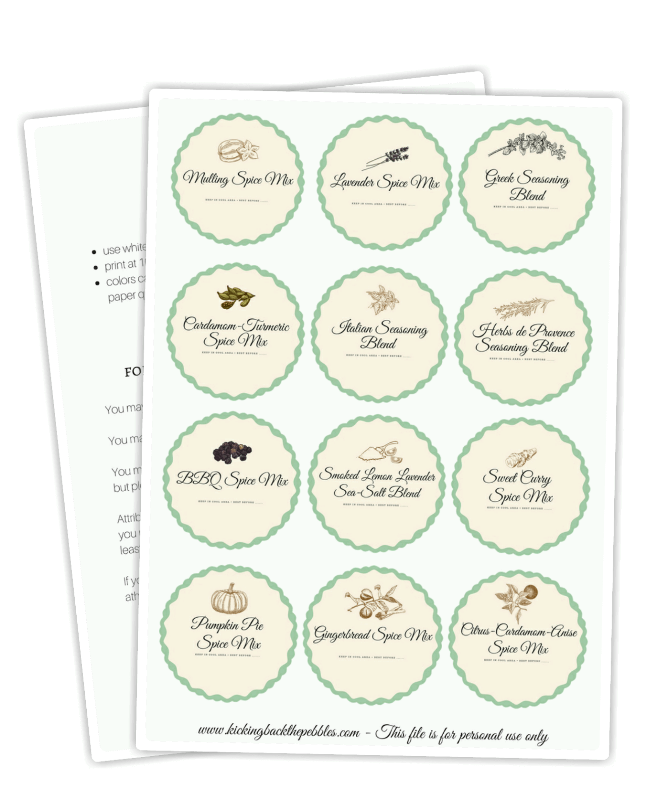 Spice Calendar Labels by Kicking Back the Pebbles