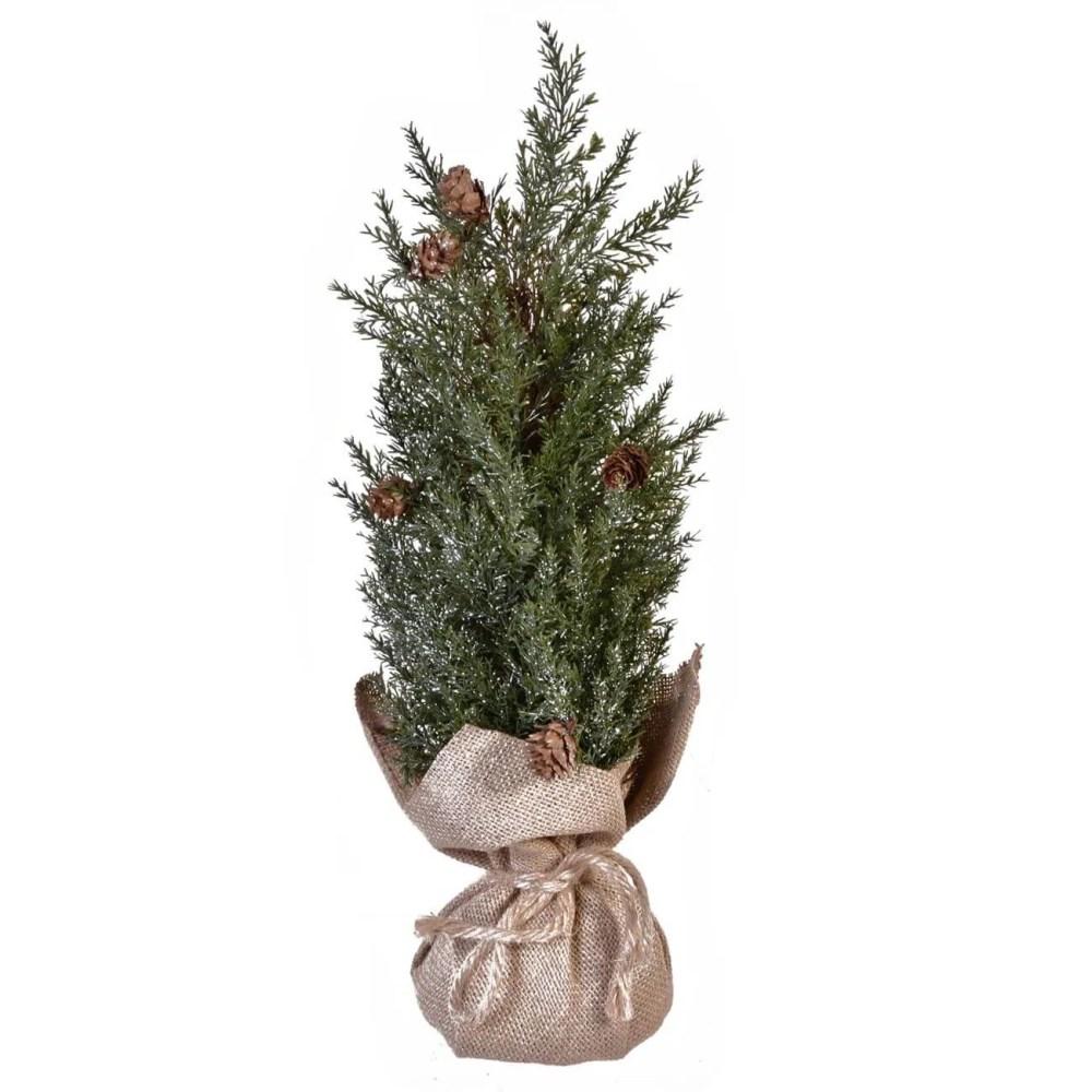 Mini Christmas tree with burlap base   Jumbo