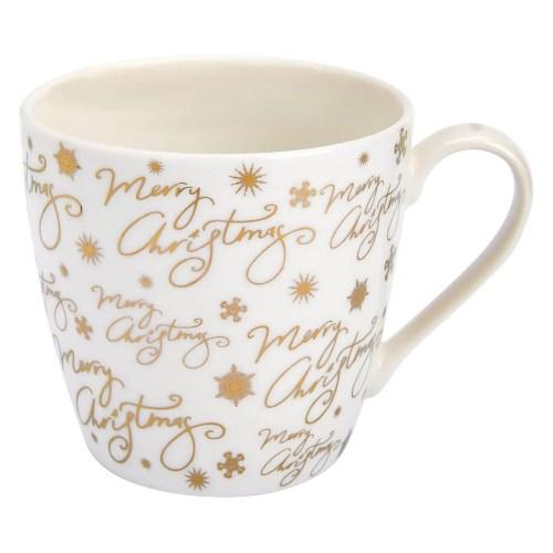 Ivory & gold Christmas mug   Jumbo