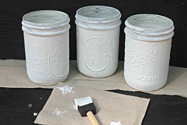 white mason jars