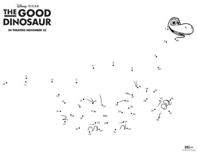 Disneys The Good Dinosaur Activity Sheets GoodDino Kicking It