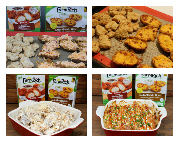 Loaded Potato Skins And Chicken Casserole #MomsWingMan #FarmRichSnacks collage