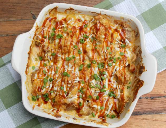 Loaded Potato Skins And Chicken Casserole #MomsWingMan #FarmRichSnacks topview